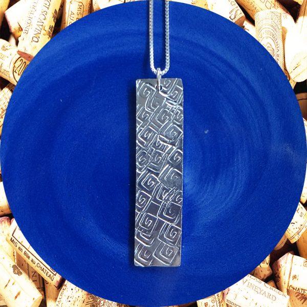 Wide Medium Rectangular Square Swirl Aluminum Pendant Necklace by Kimi Designs