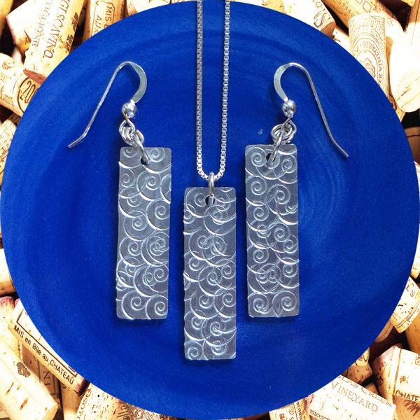 Wide Medium Rectangular Swirl Aluminum Earrings and Pendant Set by Kimi Designs
