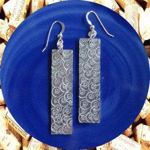 Wide Medium Rectangular Swirl Aluminum Earrings by Kimi Designs