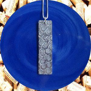 Wide Medium Rectangular Swirl Aluminum Pendant Necklace by Kimi Designs